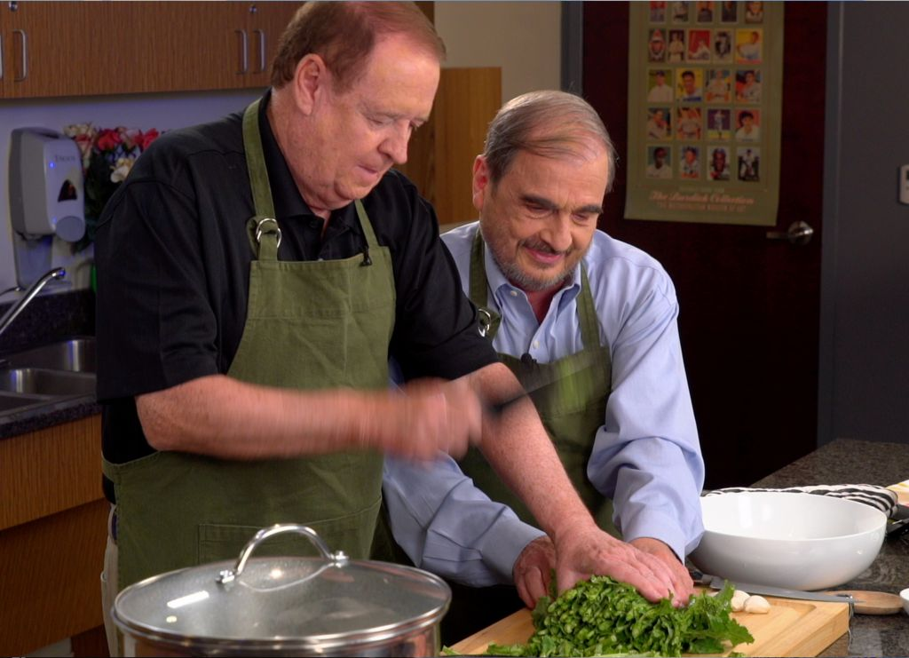 Former Governor Richard Codey cooks a pasta meal with host Nick Acocella