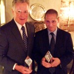 Former NJ Governor James Florio and NJTV GM John Servidio accept awards from the State Council on Public Affairs April 17, 2012 in Bernardsville, NJ.