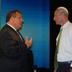 Governor Christie and Michael Aron chat after their On The Record interview