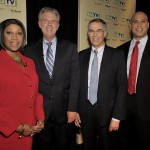 August 5, 2013 – (L-R) Newark Mayor Cory Booker, Rep. Rush Holt, Assembly Speaker Sheila Oliver and Rep. Frank Pallone pose before a U.S. Senate Democratic Primary debate televised on NJTV from Montclair State University in New Jersey. The four candidates are on the ballot for the Aug. 13 Special Primary Election.  (Joe Sinnott/NJTV)