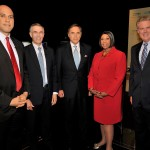 August 5, 2013 – (L-R) Newark Mayor Cory Booker, Rep. Rush Holt, NJ Today Managing Editor Mike Schneider, Assembly Speaker Sheila Oliver and Rep. Frank Pallone pose before the U.S. Senate Democratic Primary debate televised on NJTV from Montclair State University in New Jersey.  The 90-minute debate broadcast, entitled NJDecides 2013: U.S. Senate Democratic Primary Debate, is moderated by Schneider, with contributions from Alfred Doblin, Editorial Page Editor of The Record. (Joe Sinnott/NJTV)