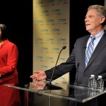 Rep. Frank Pallone and Assembly Speaker Sheila Oliver (background) prepare for the US Senate Democratic Primary Debate hosted by NJTV at Montclair State University on August 5, 2013. (NJTV/Joe Sinnott)