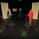 August 5, 2013 – (L-R) Newark Mayor Cory Booker, Rep. Rush Holt, Assembly Speaker Sheila Oliver and Rep. Frank Pallone participate in a U.S. Senate Democratic Primary debate televised on NJTV from Montclair State University in New Jersey. The four candidates, pictured here during a pre-debate camera test, are on the ballot for the Aug. 13 Special Primary Election.  The winner will face Republican Alieta Eck or Steve Lonegan in an Oct. 16 special general election. (Joe Sinnott/NJTV)