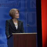 October 15, 2013- State Senator Barbara Buono at the podium during the second and final Gubernatorial debate televised on NJTV from Montclair State University in New Jersey. (Joseph Sinnott/NJTV)