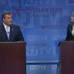 October 15, 2013 – (L-R) Governor Chris Christie and State Senator Barbara Buono at the second and final Gubernatorial debate televised on NJTV from Montclair State University in New Jersey. The 90-minute live debate broadcast, entitled NJDecides 2013: The New Jersey Gubernatorial Debate, is moderated by NJ Today's managing editor and anchor Mike Schneider.  (Joseph Sinnott/NJTV)