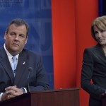 October 15, 2013 – (L-R) Governor Chris Christie and State Senator Barbara Buono at the second Gubernatorial debate televised on NJTV from Montclair State University in New Jersey. The 90-minute live debate broadcast, entitled NJDecides 2013: The New Jersey Gubernatorial Debate, is moderated by NJ Today's managing editor and anchor Mike Schneider.  It is the final debate between the candidates before the November 5th election.  (Joseph Sinnott/NJTV)