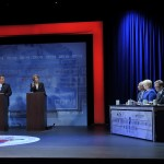 October 15, 2013 – (L-R) Governor Chris Christie and State Senator Barbara Buono participate in the second and final Gubernatorial debate televised on NJTV from Montclair State University in New Jersey. The 90-minute live debate broadcast, entitled NJDecides 2013: The New Jersey Gubernatorial Debate, includes panelists NJTV Chief Political Correspondent Michael Aron; Montclair State University Political Science/Law Professor Brigid Harrison; Philadelphia Inquirer Staff Writer Matt Katz and NBC News Correspondent Ron Allen. (Joseph Sinnott/NJTV)