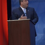 October 15, 2013- Governor Chris Christie at the podium during the second and final Gubernatorial debate televised on NJTV from Montclair State University in New Jersey. (Joseph Sinnott/NJTV)