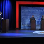 October 15, 2013 –Governor Chris Christie and State Senator Barbara Buono at the second and final Gubernatorial debate televised on NJTV from Montclair State University in New Jersey. The 90-minute live debate broadcast, entitled NJDecides 2013: The New Jersey Gubernatorial Debate, is moderated by NTV's managing editor Mike Schneider.  (Joseph Sinnott/NJTV)