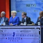 October 15, 2013 - The panelists at the second and final New Jersey Gubernatorial debate televised by NJTV from Montclair State University Ron Allen, NBC News Correspondent; Michael Aron, Chief Political Correspondent/Public Affairs Series Host, NJTV; Brigid Harrison, Political Science/Law Professor, Montclair State University; Matt Katz, Staff Writer, The Philadelphia Inquirer. (Joseph Sinnott/NJTV)