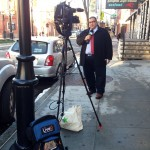 NJTV News with Mike Schneider correspondent David Cruz covers a story via LiveU in Newark, NJ. Photo courtesy NJTV.
