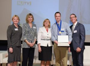 From L to R: Deb Falk, Communications Director, NJTV; Linda Bowden, President, PNC Bank New Jersey; Acting Gov. Kim Guadagno; honoree Jeffrey Peter Munsey; Matt Kraner President, NJ Advance Media in the presentation of the NJTV Education Award.  Photo: Russ DeSantis Photography and Video, LLC